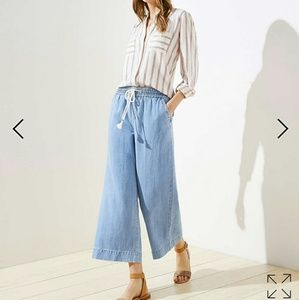 Cotton Linen Draw String Wide Leg Crop Pant